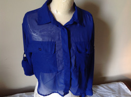 Cotton Express Pretty Blue Button Down Blouse 2 Front Pockets Long Sleeve Size M image 9