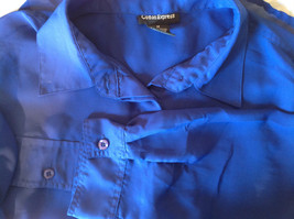 Cotton Express Pretty Blue Button Down Blouse 2 Front Pockets Long Sleeve Size M image 10