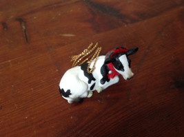 Cow with Scarf on Neck Ornament Gold Colored String for Hanging image 2