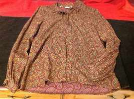 Crazy Horse Long sleeve woman blouse size 6 multicolor purple green wine image 3