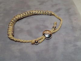 Creme Small Tied String Bracelet  Sliding Bead for Adjustment image 4