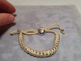 Creme Small Tied String Bracelet  Sliding Bead for Adjustment image 2