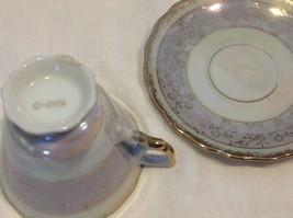 Cup saucer set gray opal pedestal w florals gold trim National Potteries image 5