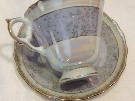 Cup saucer set gray opal pedestal w florals gold trim National Potteries image 6