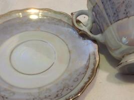 Cup saucer set gray opal pedestal w florals gold trim National Potteries image 3