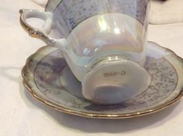 Cup saucer set gray opal pedestal w florals gold trim National Potteries image 7