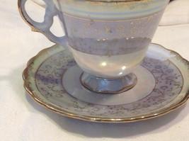 Cup saucer set gray opal pedestal w florals gold trim National Potteries image 8