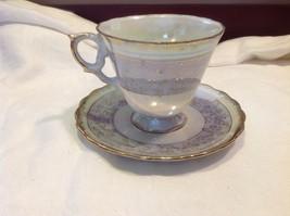 Cup saucer set gray opal pedestal w florals gold trim National Potteries image 9