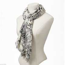 Cream Soft viscose with black and gray floral print scarf image 2