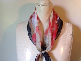 Cream Black and Red Square Scarf Black Border Red Berries Black Branches image 4