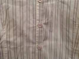 Cream Colored Long Sleeve Collared Button Up Striped Blouse No Size Tag image 4
