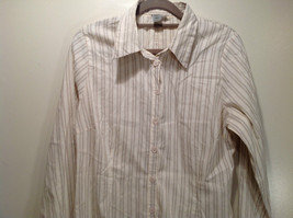 Cream Colored Long Sleeve Collared Button Up Striped Blouse No Size Tag image 2