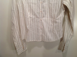 Cream Colored Long Sleeve Collared Button Up Striped Blouse No Size Tag image 3