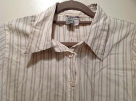 Cream Colored Long Sleeve Collared Button Up Striped Blouse No Size Tag image 7