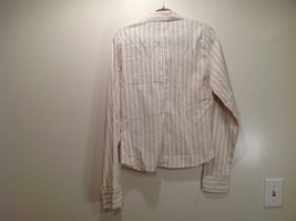 Cream Colored Long Sleeve Collared Button Up Striped Blouse No Size Tag image 8