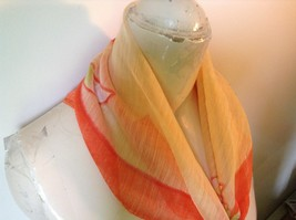 Cream and Orange Square Scarf with Flowers in Each Corner Measurements Below image 2