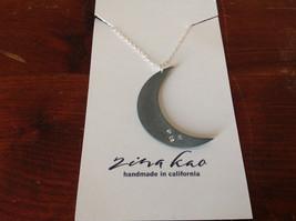 Crescent gunmetal Black oxidized silver Moon Necklace 3 tiny CZs Zina Kao USA image 3