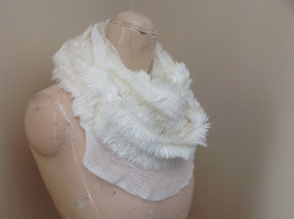Creme Colored Pretty Frilly Furry Infinity Scarf Length One Side 28 Inches image 3