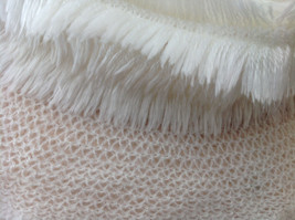 Creme Colored Pretty Frilly Furry Infinity Scarf Length One Side 28 Inches image 5