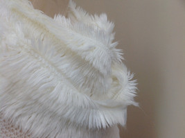 Creme Colored Pretty Frilly Furry Infinity Scarf Length One Side 28 Inches image 4