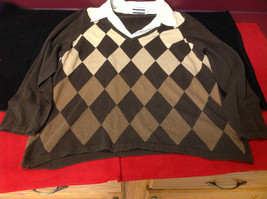 Croft & Barrow Ladies Long Sleeve Brown Sweater with Patterns Size 2X image 2