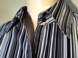 Croft and Barrow Black and White Striped Blouse Button Down with Collar Size M image 3