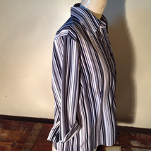 Croft and Barrow Black and White Striped Blouse Button Down with Collar Size M image 6