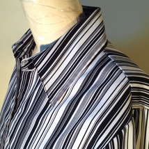 Croft and Barrow Black and White Striped Blouse Button Down with Collar Size M image 11