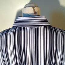 Croft and Barrow Black and White Striped Blouse Button Down with Collar Size M image 8