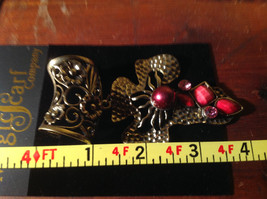 Cross Shaped Light Gold Tone Scarf Pendant with Red Beads Stones and Crystals image 4