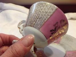 Cup saucer set pink pedestal w florals fish scale gold gilt National Potteries image 2