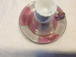 Cup saucer set pink pedestal w florals fish scale gold gilt National Potteries image 5