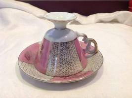 Cup saucer set pink pedestal w florals fish scale gold gilt National Potteries image 6