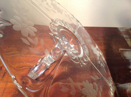 Crystal Glass Serving Tray with Handle Copper Wheel Engraving Flowers Leaves image 4