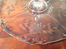 Crystal Glass Serving Tray with Handle Copper Wheel Engraving Flowers Leaves image 3
