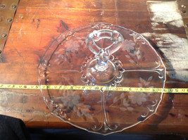 Crystal Glass Serving Tray with Handle Copper Wheel Engraving Flowers Leaves image 5