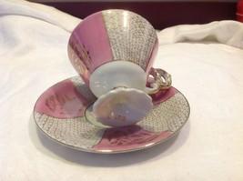 Cup saucer set pink pedestal w florals fish scale gold gilt National Potteries image 7