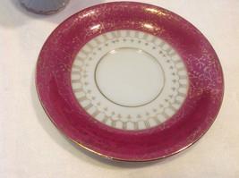Cup saucer maroon pedestal w scroll flourish gold trim National Potteries image 4