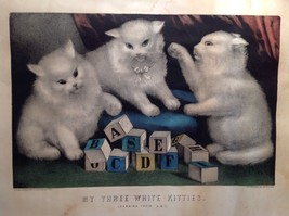 Currier and Ives Lithograph My Three White Kitties Learning their A B C image 2