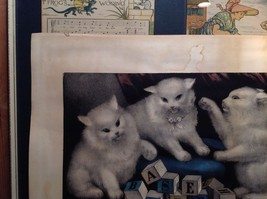 Currier and Ives Lithograph My Three White Kitties Learning their A B C image 4