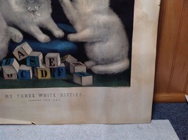 Currier and Ives Lithograph My Three White Kitties Learning their A B C image 6