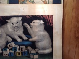 Currier and Ives Lithograph My Three White Kitties Learning their A B C image 5