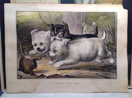Currier Ives Lithograph 1868 Westie dogs and rat titled Who's Afraid of You? image 5