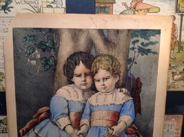 Currier Ives Lithograph 1875 colorized Little Sisters image 2