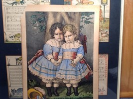 Currier Ives Lithograph 1875 colorized Little Sisters image 5