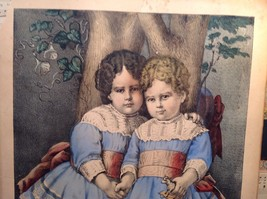 Currier Ives Lithograph 1875 colorized Little Sisters image 4