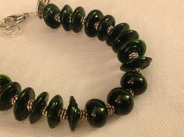 Custom designed glass lampwork beads bracelet USA groove disc rounds pine green image 3