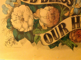 Currier and Ives Lithograph colorized God Bless our Home circa late 1800s image 4