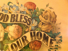 Currier and Ives Lithograph colorized God Bless our Home circa late 1800s image 6