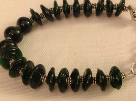 Custom designed glass lampwork beads bracelet USA groove disc rounds pine green image 2